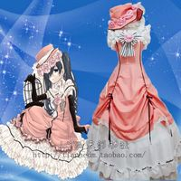 Black Butler Ciel Phantomhive Women's Pink Party Dresses Cosplay Clothes dress+ hat