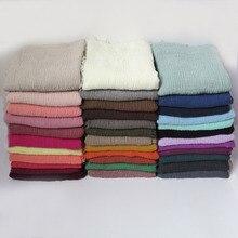 10 шт./лот, высокое качество, простые цвета, морщинка, пузырь, шарф, шаль с бахромой, мусульманский хиджаб, головной убор, большой размер