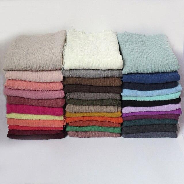 10 sztuk/partia wysokiej jakości zwykłe kolory marszczone bańki szalik szal z frędzlami muzułmańskie hidżab głowy Wrap duży rozmiar