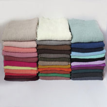 10pcs/lot High Quality Plain Colors Crinkled Bubble Scarf Shawl with Fringes Muslim Hijab Head Wrap Large Size(China)