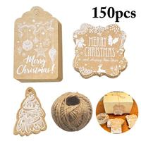 150PCS Christmas Gift Tag Decorative Hanging Tag Paper Tag with Jute Twine Cards Gift Tag