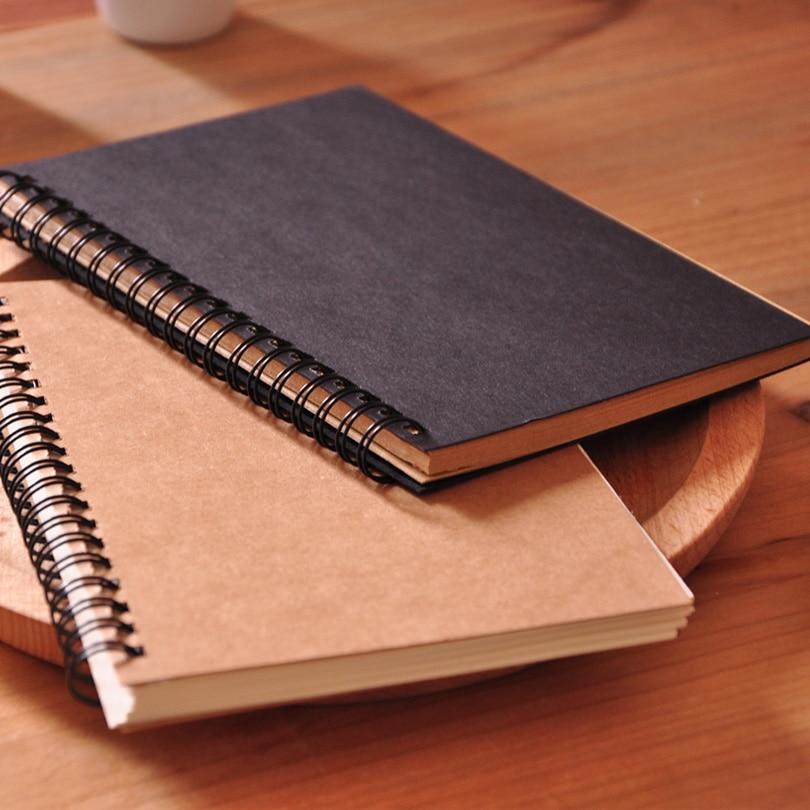 Hot Blank Sketchbook Diray For Drawing Graffiti Painting 50 Sheets Sketch Book Kraft Spiral Notebook Office School Supplies