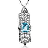 2017 New Fashion Big Quartz Crystal Pendant Created Aquamarine Vintage 925 Sterling Silver Necklaces For Women