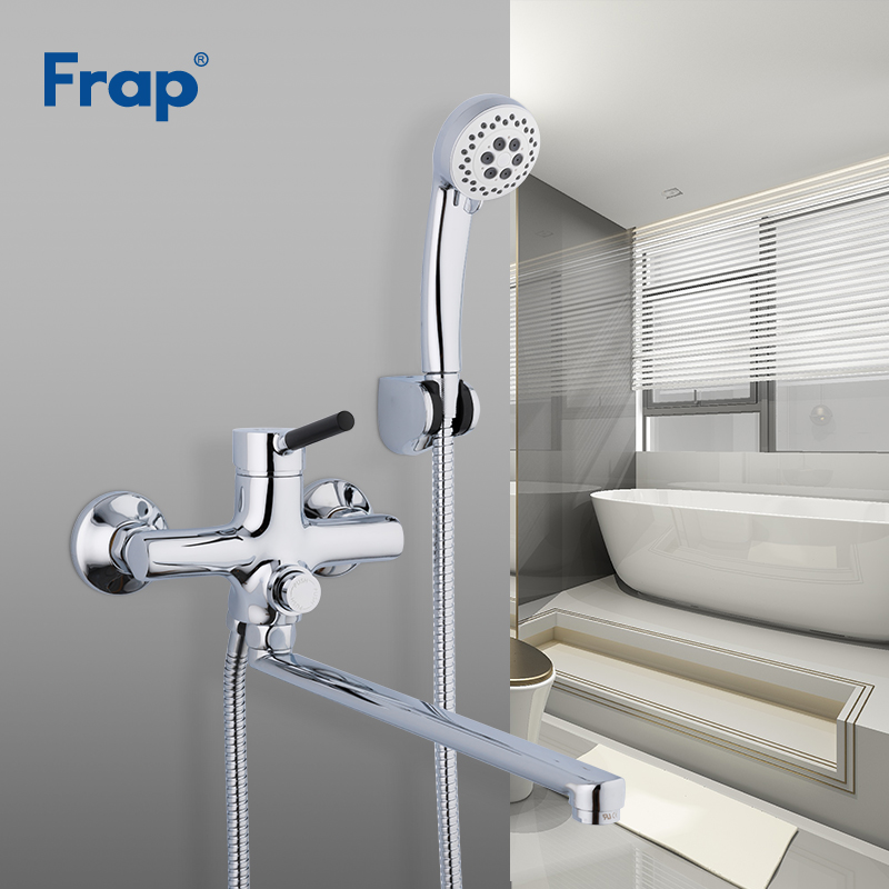 Us 55 97 50 Off Frap Bathtub Faucets Long Nose White Bath Shower Mixer Tub Faucet Waterfall Water Tapware In