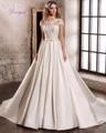 Dreagel Charming Princess Lace Short Sleeve A-line Wedding Dress 2017 Delicate Appliques Satin Sashes Bride Gown Robe de Mariage