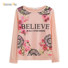 Yolanda Paz Women Summer Tops BELIEVE Letters Flowers Print long sleeve hoody Sexy Slim white and pink female hoodies sweatshirt