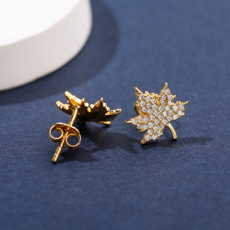 SA SILVERAGE 925 Sterling Silver Yellow Gold Color Maple Leaf Stud Earrings Woman 925 Silver Gold Zirconia Asymmetry Earrings