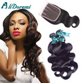Peruvian Virgin Hair With Closure 7A Peruvian Body Wave With Closure 3 Bundles With Closure Human Hair Bundles With Lace Closure