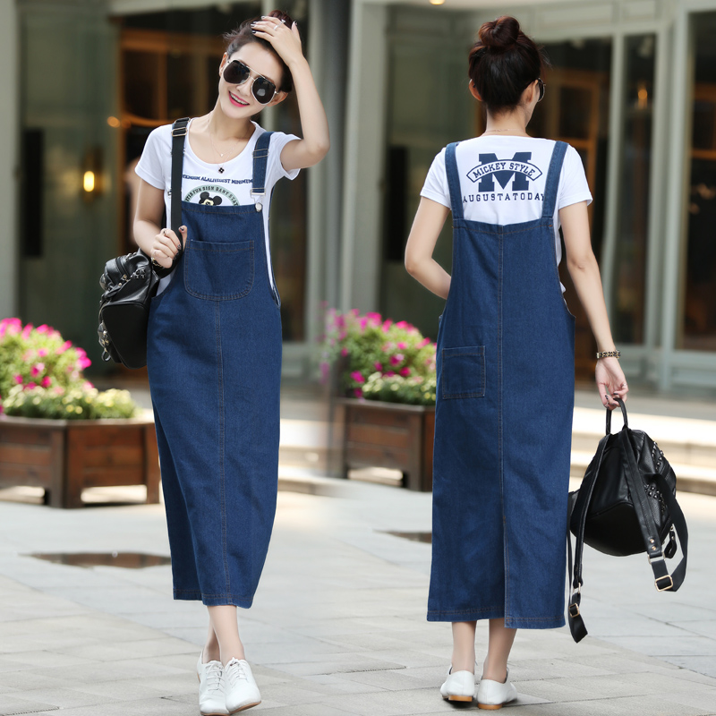 Us 1799 New Fashion Women Ladies Long Denim Strap Solid Jean Dress Loose Fitting Sleeveless Long Overalls Dungarees In Dresses From Womens