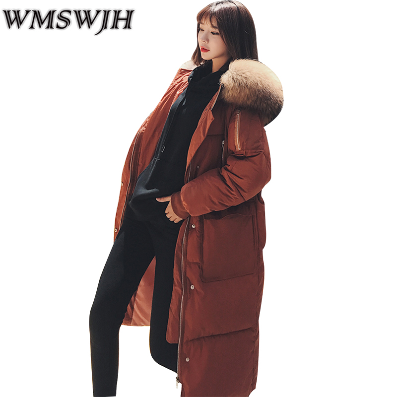 WMSWJH Cold Winter Coat Large Fur Collar Hooded Parkas Jackets Women Thicken Warm Cotton-padded Jacket Long Female Outerwear A18 bjcjwf 2017 winter jacket women wadded long parkas female outerwear hooded coat cotton padded fur collar parka thicken warm 1pc
