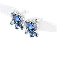 Pendientes de plata Con la luz de La Luna Azul Y Blanco Pendientes de Cristal Original 925 Pendientes de Plata Esterlina Joyería Al Por Mayor