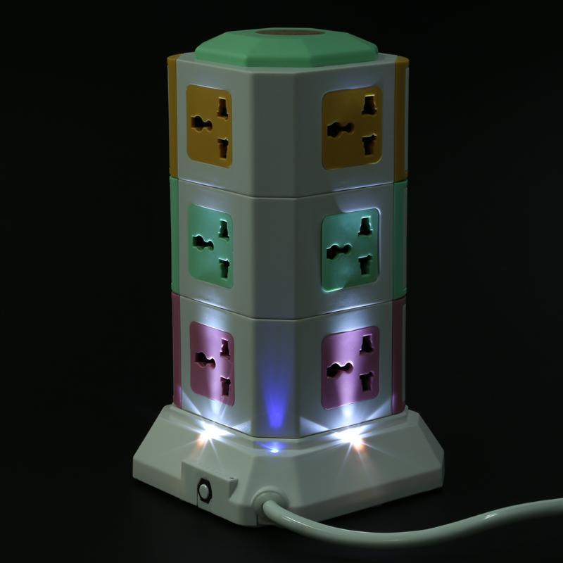 3 couche Universelle Intelligente Prise Électrique Vertical Puissance Prise de Courant Avec Interrupteur Indépendant LED Lumières MP3 jouer + 2 USB ports - 4