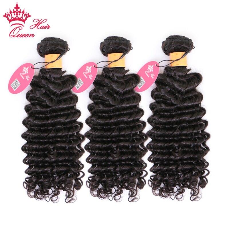 Queen Hair 100 Indian Human Hair Deep Wave Bundles 3pcs lot Weave Natural Color 1B Remy