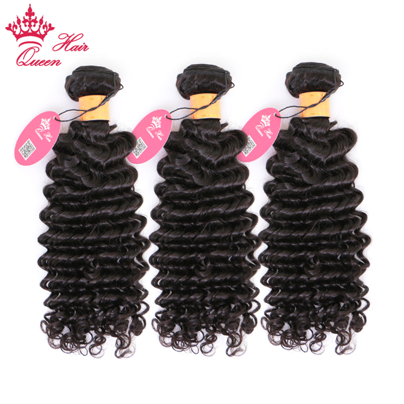 Queen Hair 100% Indian Human Hair Deep Wave Bundles 3pcs/lot Weave Natural Color 1B Remy Hair Extensions 10-30 Free Shipping
