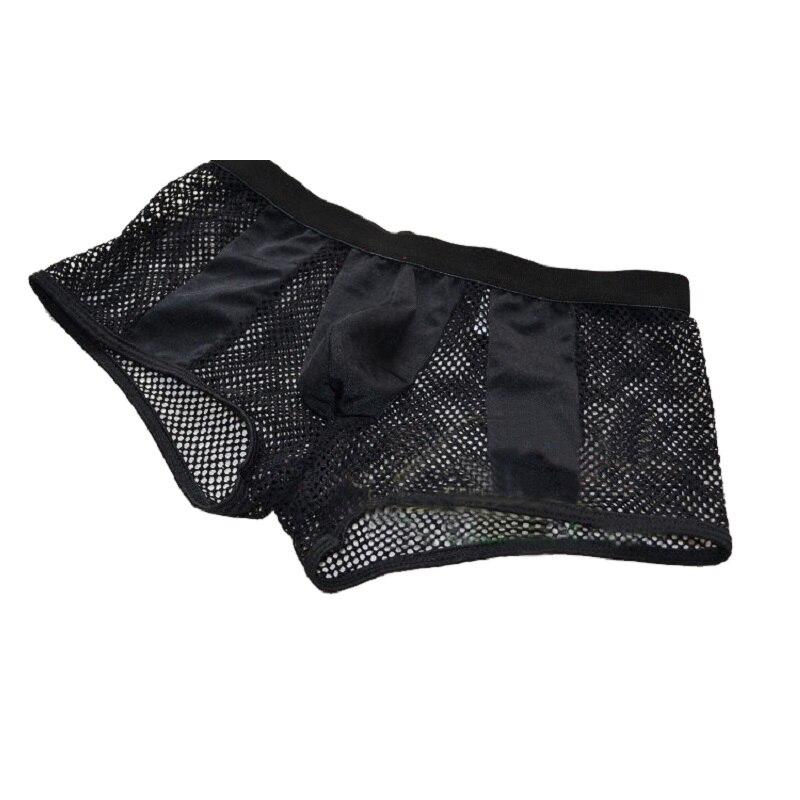 Marque transparente creux mens sexy sous-vêtements boxer sexy gros mesh respirant boxers culotte