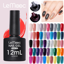 LEMOOC Gel Polish 12ml Miss Cherry Glitter Sequins Nail Art Acrygel Soak Off UV Thinner Long Lasting Lacquer Varnish