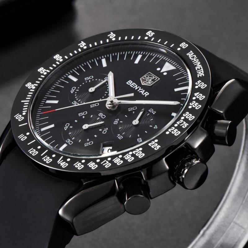 BENYAR Brand Fashion Men Watch Luxury Men Silicone Sport Waterproof Chronograph Quartz Military Black Watches Reloj Hombre S