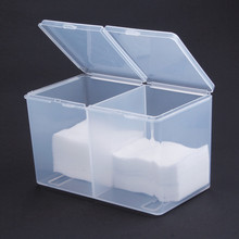 2 Compartments Nail Polish Remover Nail Wipes Cotton Pad Container Storage Box Makeup Organizer Nail Art Tools Case Holder