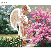 MYT Girl Angle In Flower Park Home Art High Quality Paintings Decor DIY Painting By Numbers Digital Canvas Oil