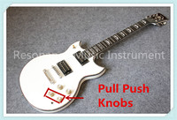 Custom Shop Pull Push Knobs White Glossy Finish Suneye SG Electric Guitar Pearl Inlaid Rosewood Fretboard Free Shipping