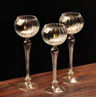 Table Solid Crystal Flower Shape Candlestick Transparent Glass Candle Holder Christmas Wedding Party Romantic Crafts