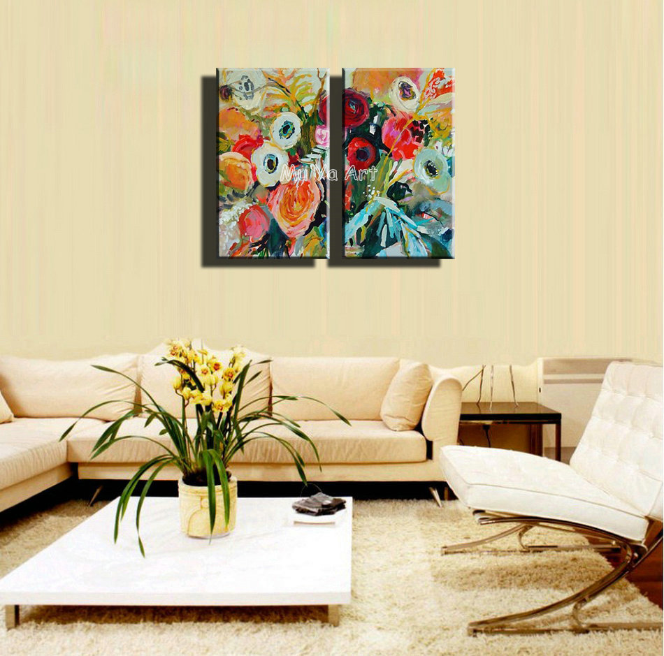 2 panel Beautiful wall art Abstract vintage art flower acrylic oil ...