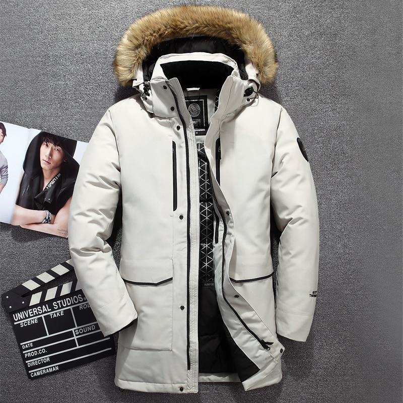Tace & Shark Medium Long Coat Men's Down Jacket Russia Winter Jacket For Men Fur Collar Thick Windbreaker Duck Down Jacket Men