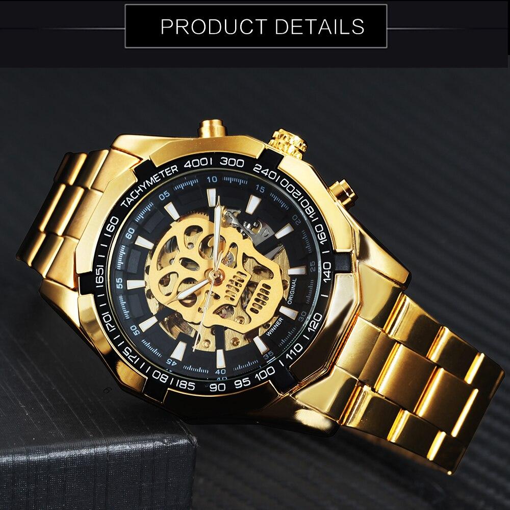 HTB1J0jDgZyYBuNkSnfoq6AWgVXag WINNER New Fashion Mechanical Watch Men Skull Design Top Brand Luxury Golden Stainless Steel Strap Skeleton Man Auto Wrist Watch