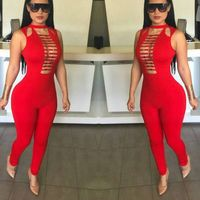 wholesale 2017 new Jumpsuits Black and red Tight sexy Fashion casual woman bandage Rompers(H1371)
