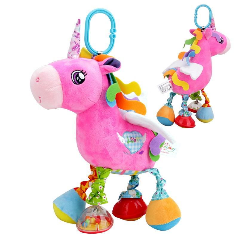Newborn Baby Stroller Rattle Multicolor Soft Plush Cartoon Animal Doll Infant Bed Bell Cute Sound Staffed Toys Giraffe Unicorn