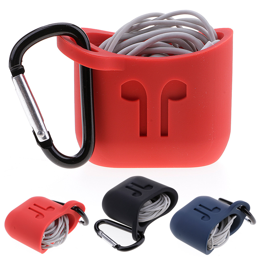 Silicone Portable Case Storage Bag Hold Carabiner For Apple Airpods Earphone New
