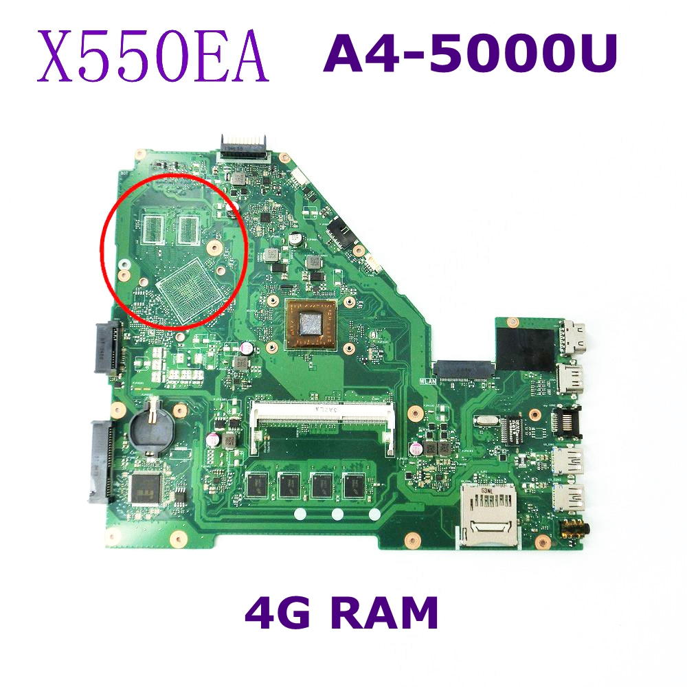 цена на X550EA A4-5000U 4GB RAM Mainboard REV 2.0 For ASUS X550EA X550E X550EP laptop motherboard 60NB03R0-MB1240 DDR3 100% Tested