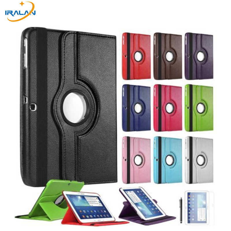 Case For Samsung Galaxy Tab 3 10.1 inch P5200 P5220 P5210 Tablet Cover 360 Rotating Screen Protector+stylus pu leather case cover for samsung galaxy tab 3 10 1 p5200 p5210 p5220 tablet