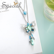 The SPECIAL BRAND euramerican sweet fresh forest temperament romantic display long necklace pendant butterfly hyacinth  S2022N цены