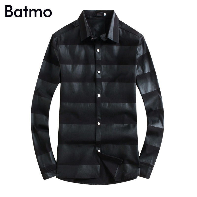 Casual Shirts black Shirts Men Plus-size 18102 Commodities Are Available Without Restriction Batmo 2018 New Arrival Autumn High Quality Spandex Plaid Casual Shirt Men,mens Plaid Shirts