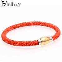 Mcllroy genuine leather bracelet men stainless steel buckle male trendy bracelets & bangles charms cuff jewelry wholesale bijoux