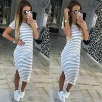 Casual Summer Women Dress Short Sleeve Round Neck Slim Fit Bodycon Dress Striped Side Split T Shirt Womens Dresses Beach long