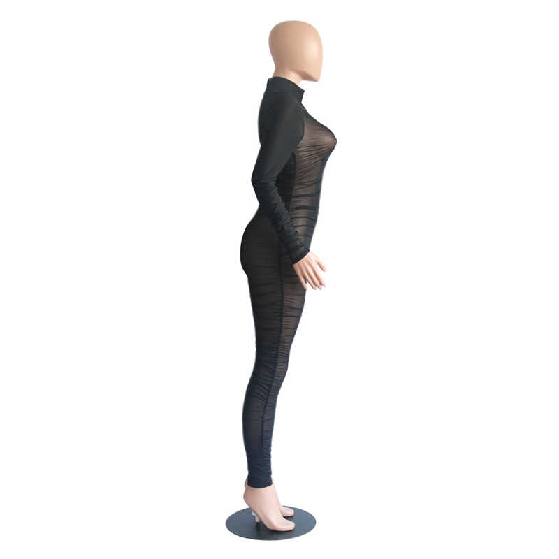 Adogirl женский сексуальный черный из прозрачной ткани сетчатый комбинезон с рюшами с высоким воротом и длинным рукавом легкий комбинезон Ночной клуб комбинезоны модные боди