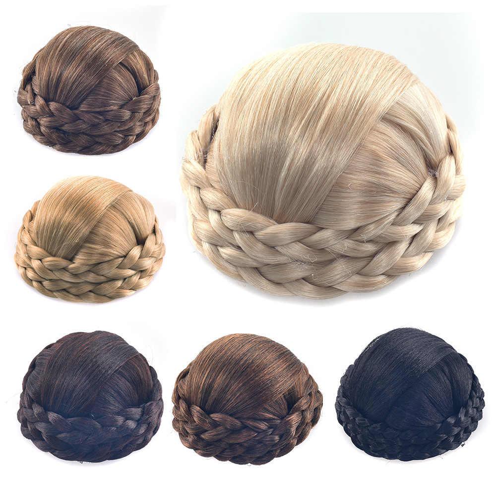 Gres fibra resistente al calor negro/marrón claro/Rubio mujeres pelo sintético Buns Clip-En trenzada señora Chignons para la fiesta,