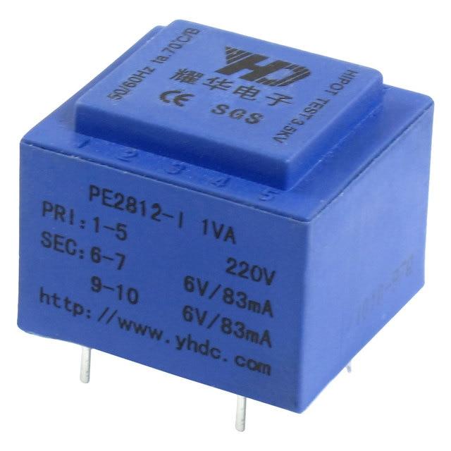 UXCELL Epoxy Resin Sealed Encapsulated Power Transformer 1Va Pe2812-1