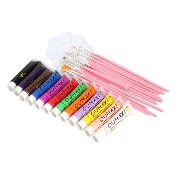 12 Colors Acrylic Nail Art Painting Pigment Brushes Pen Palette Dish Kit