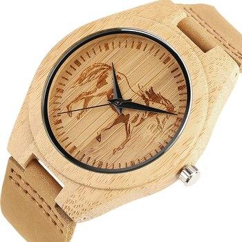 Hommes femmes montre en bois de haute qualité naturel hommes femmes aigle cheval tatouage en cuir véritable bambou mode Simple montres à Quartz
