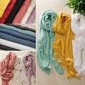Hot Trendy Women Cotton Linen Scarf Fashion Warm Solid Color Tassel Shawl