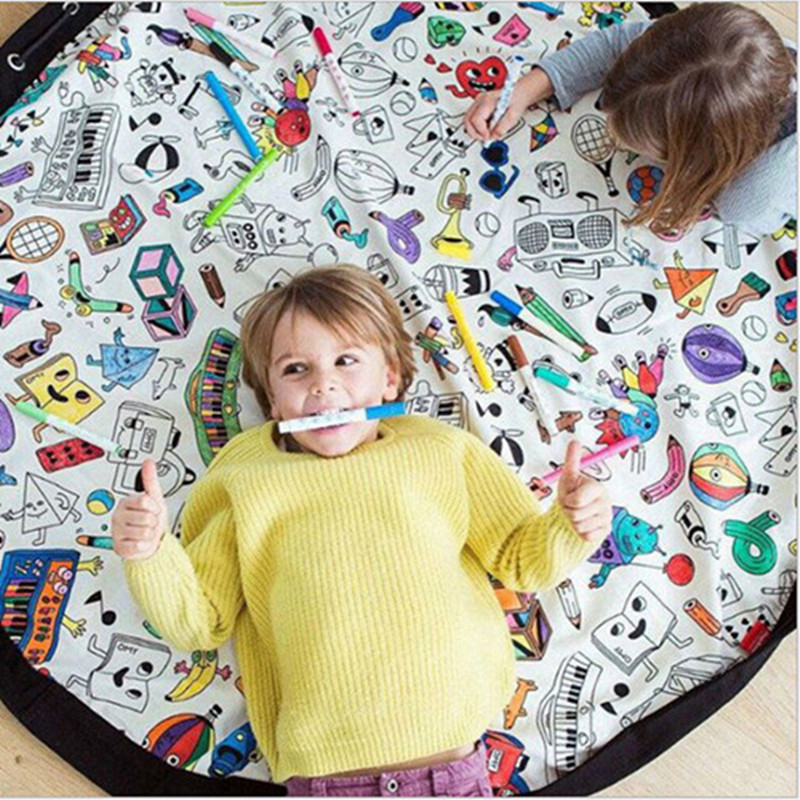 DIY Graffiti Kids Toy Baby Room Decor Round Carpets Portable Play Mat Rug Large Area Durable Round kids Game Crawling Carpet