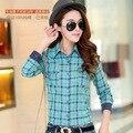 Personalizada moderna Slim Fit de algodão camisa Tops para mulheres Shirttail Hem mais pequeno tamanho verão novo Design
