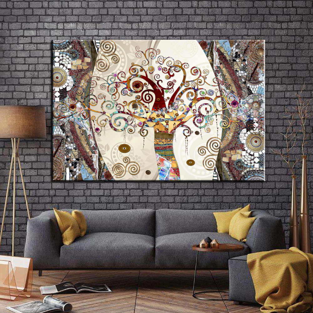 Famous Painting Wall Art Posters and Prints on Canvas Painting The Tree of Life by Gustav Klimt for Living Room Decor