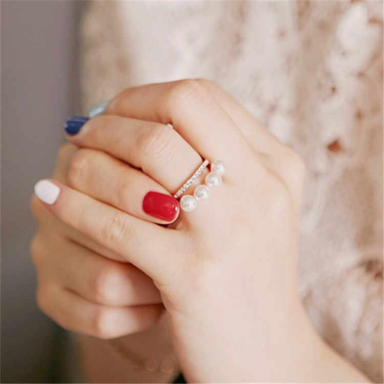 ใหม่แฟชั่นผู้หญิงเกาหลีคู่ชั้น Elegant ลูกปัดมุกแหวน Rhinestone แหวนเครื่องประดับ