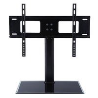 Height Adjustable Floor Type Toughened Glass TV Bracket Stand Holder For 37 55 Inches LCD Flat