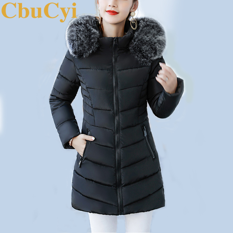 купить CbuCyi Hot Fashion Winter Overcoat Women's Clothing Warm Thick Jacket Coat Long Sleeve Outwear Slim Parkas Fur Collar Removable дешево