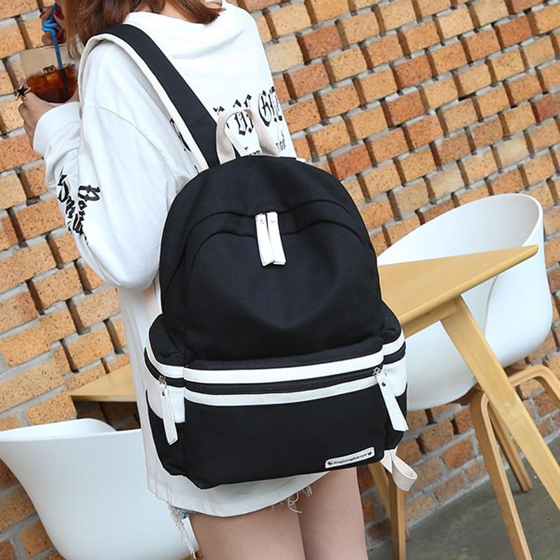 Women Canvas Backpacks Teen Girls School Back Backpack Female Striped Feminine Backpack School Bagpack Girl Mochila